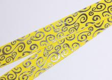 Репсовая лента Желтая с завитками круглыми серебро, 25 мм