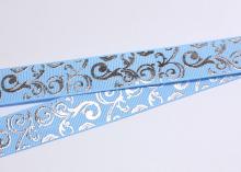Репсовая лента Голубая, Завитки серебро острые, 25 мм