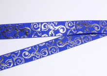 Репсовая лента Синяя, Завитки серебро острые, 25 мм