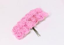 Букетик розочек с фатином 12 штук, размер розы 2 см.. Розовые