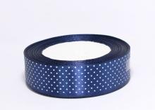 Лента атласная горох мелкий на синем. 25 мм