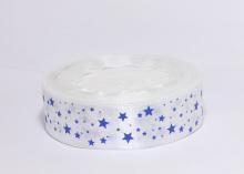 Атласная лента Звездочки синие на белом, 25 мм