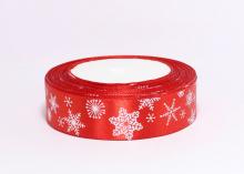 Атласная лента Снежинки на красном, 25 мм