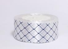 Атласная лента Ромбы на белом, 40 мм