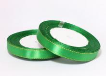 Атласная лента с люрексом 12мм, зеленая Золото
