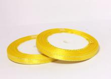 Лента атласная с люрексом, Желтая Серебро, (25 ярдов), 6 мм