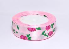 Лента атласная Розы на розовом, 25 мм