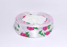 Лента атласная Розы на белом, 25 мм