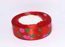 Лента атлас Розы на красном, 25 мм