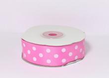 Репсовая лента горох белый крупный Ярко-розовая, 25 мм