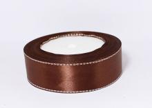 Лента атласная люрекс серебро, Коричневая, 25 мм