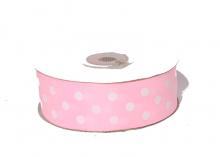 Репсовая лента горох белый крупный Светло-розовая, 25 мм