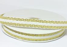 Лента бархатная с золотым люрексом 1,5 см, Белая