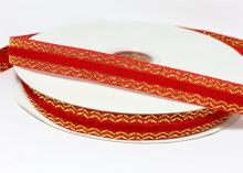 Лента бархатная с золотым люрексом 1,5 см, Красная
