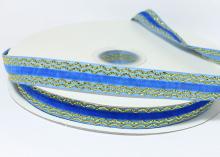 Лента бархатная с золотым люрексом 1,5 см, Синяя