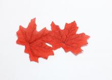 Лист кленовый ткань, 7 см, Красный