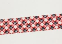 Репсовая лента Ромбы красно-черные светлая, 40 мм