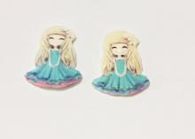 Кабошон пластик Девочка в голубом платье, 40 мм