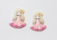 Кабошон пластик Девочка в розовом платье, 40 мм