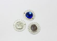 Рамка круглая Сердечки, внутренний диаметр 20 мм, внешний - 35 мм, Серебро