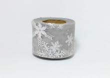 Фатин со снежинками 5,5 см. Серый