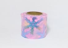 Фатин со снежинками 5,5 см. Светло-розовый