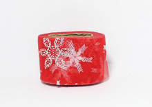 Фатин со снежинками 5,5 см. Красный серебро