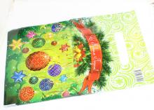 Пакет подарочный Зеленый новогодние игрушки 20х30 см