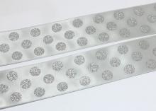 Лента Сатик блестки горох, Серая, 38 мм