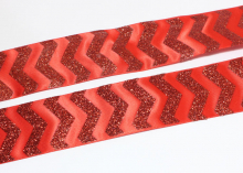 Лента Сатик блестки, Красная, 38 мм
