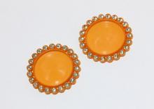 Крышка пластиковая со стразами, внутренний диаметр 25 мм, Оранжевая