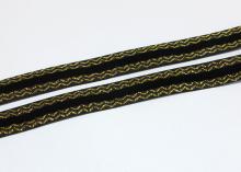 Лента бархатная с золотым люрексом 1,5 см, Черная