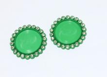 Крышка пластиковая со стразами, внутренний диаметр 25 мм, Зеленая