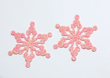 Снежинка из блестящего фетра, 5 см, Кораллово-розовая -2