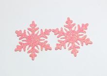 Снежинка из блестящего фетра, 5 см, Кораллово-розовая