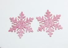 Снежинка из блестящего фетра, 5 см, Розовая