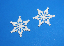 Снежинка из блестящего фетра, 5 см, Белая