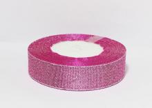 Парча розовая-серебро, 25 мм