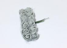Букетик розочек с фатином 12 штук, размер розы 2 см.. Серые