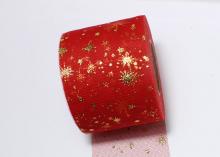Фатин с золотыми звездами мягкий. 6 см. Красный