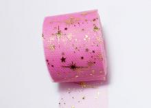 Фатин с золотыми звездами мягкий. 6 см. Ярко-розовый