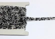 Лента стразы стекло на силиконе, Черные Серебро, 1 см