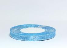 Лента парча 1 см, бирюзовый/серебро №198