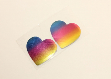 Набор термонаклеек Сердце радужное, 28 мм, 2 шт