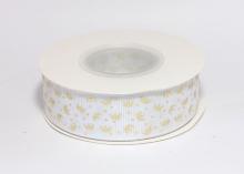 Репсовая лента Золотые короны на белом, 25 мм