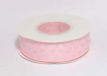 Репсовая лента Серебряные короны на розовом, 25 мм