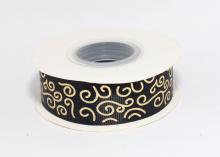 Репсовая лента Черная Завитки круглые золото, 25 мм