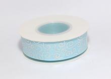 Репсовая лента Голубая Завитки круглые серебро, 25 мм