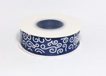 Репсовая лента Темно-синяя Завитки круглые серебро, 25 мм