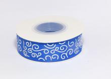 Репсовая лента Синяя Завитки круглые серебро, 25 мм